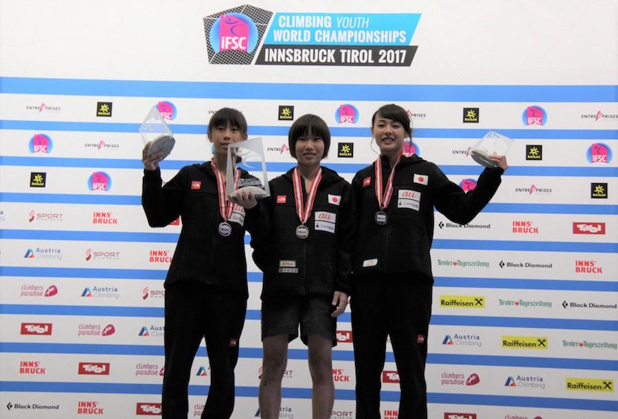 女子表彰台独占、男子も3位!IFSC世界ユース選手権リード