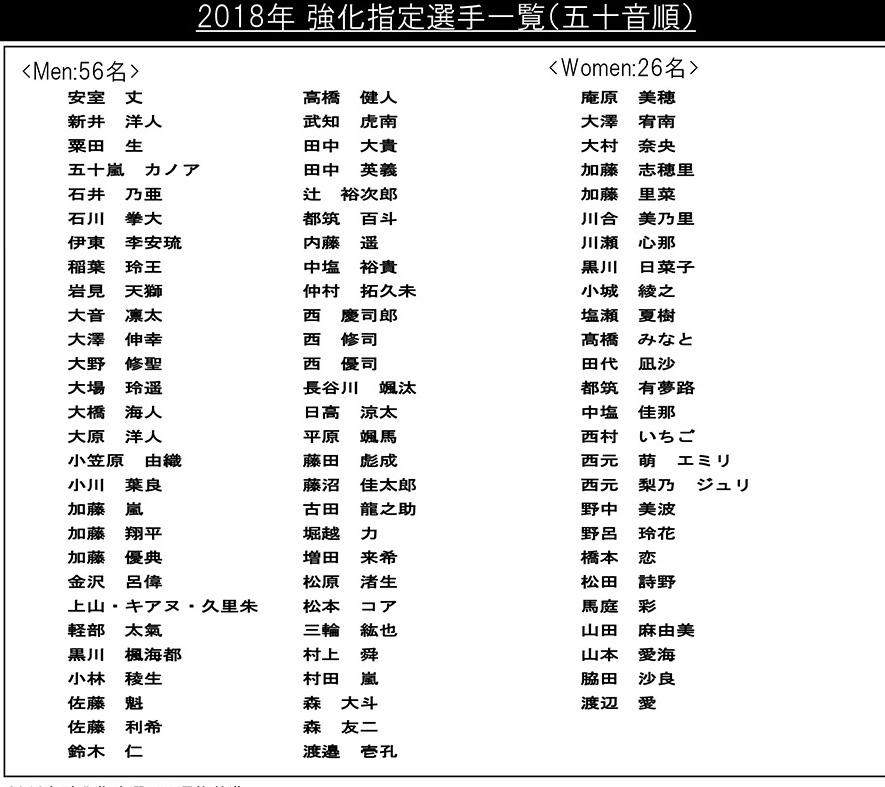 2018サーフィン強化指定選手