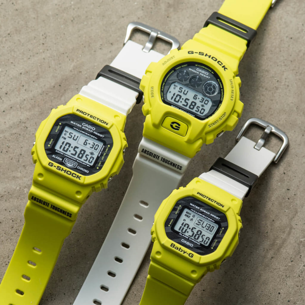 Lightning Yellow Series(写真左からDW-5600TGA-9JF/DW-6900TGA-9JF/BGD-560TG-9JF)