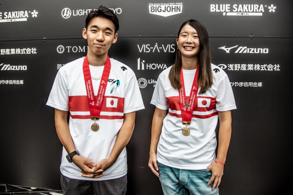 写真左から男子エリート優勝中村輪夢、女子エリート優勝大池水杜 photo by Naoki Gaman / Japan Cycling Federation