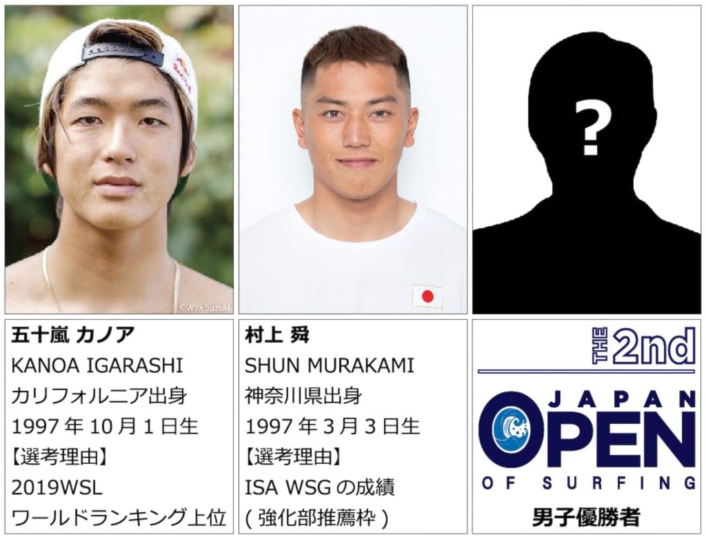 2021 ISAワールドサーフィンゲームス日本代表選手 (男子)五十嵐カノア、村上舜