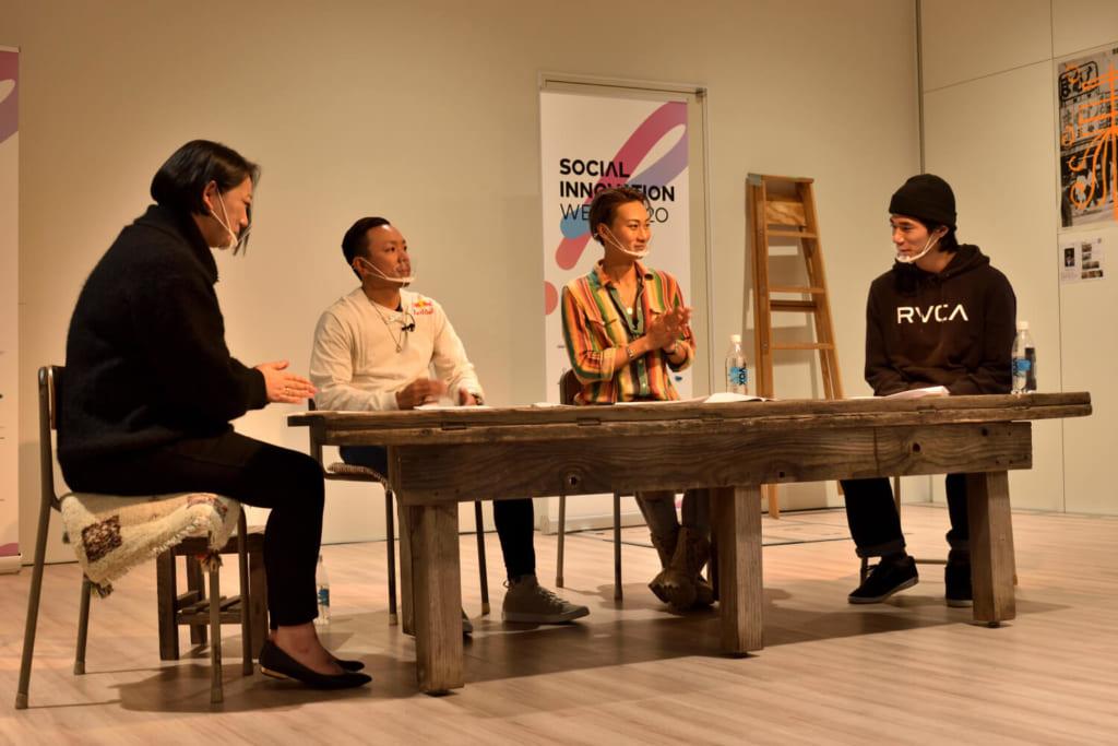 写真左から松岡けい、BBOY Taisuke、瀬尻稜、YUI photo by 金子修平