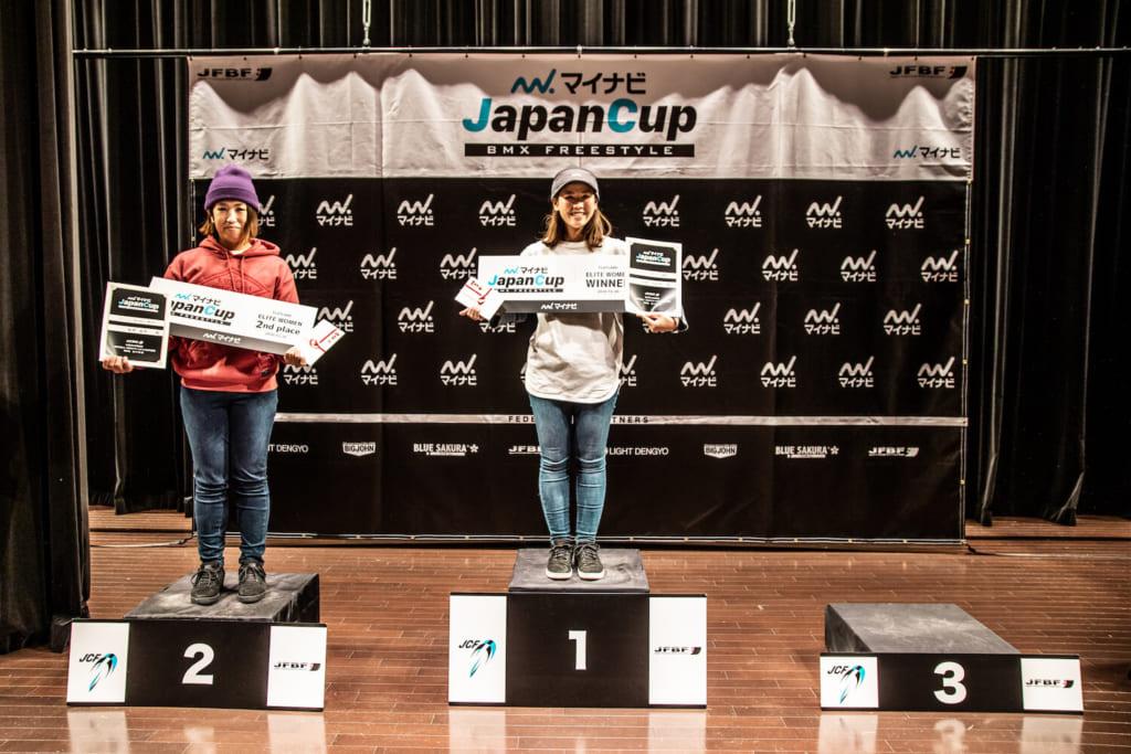 写真左から女子エリート2位:船津絵里、優勝:石﨑光紗季©️Naoki Gaman / Japan Freestyle BMX Federation