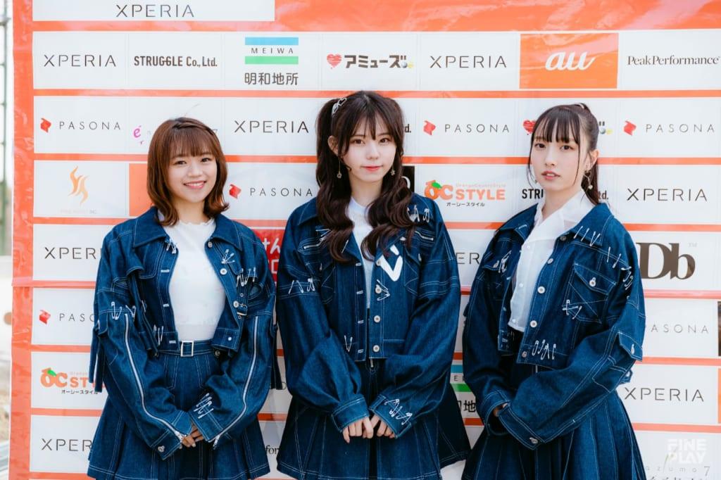 ラストアイドル(写真左から岡村茉奈、大森莉緒、山本愛梨) / photo by Kazuki Murata